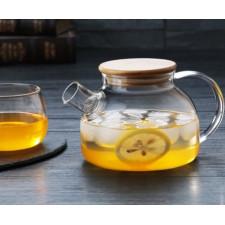 Чайник стеклянный с деревянной крышкой и ситечком  600 мл