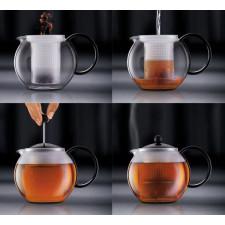 Чайник с  и поршнем  и  пластиковым фильтром ASSAM0,5 л. Bodum