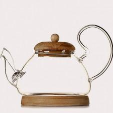 Чайник с крышкой и подставкой из бамбука, Китай 700 мл