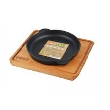 Сковорода чугунная 16х2,5см кругла, с дощечкой Brizoll HoReCa