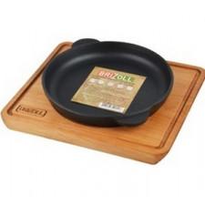 Сковорода чугунная 18х2,5см круглая, с дощечкой Brizoll HoReCa