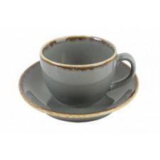Чашка чайная 320 мл с блюдцем 160 мм в наборе Sidina серая