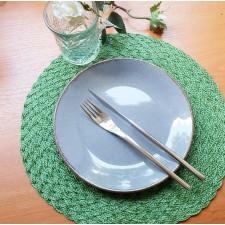 Салфетка сервировочная 38см  плетеная тканевая зеленая