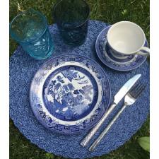 Салфетка сервировочная 38см плетеная тканевая синяя