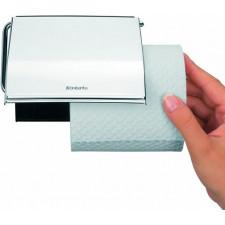 Держатель для туалетной бумаги- сталь, пластина крепления - пластиковая, стальной полированный