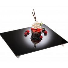 Блюдо стеклянное, прямоугольное 53х32,5см черная зеркальная оптика APS
