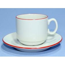 """Чашка чайная 220мл с блюдцем 140мм красный ободок """"Палитра"""""""
