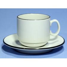 """Чашка чайная 220мл с блюдцем 140мм черный ободок """"Палитра"""""""