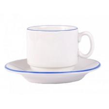 """Чашка чайная 220мл с блюдцем 140мм голубой ободок """"Палитра"""""""