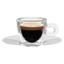 Чашка с двойным дном 65мл + метал. блюдце 2шт. LB Espresso