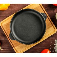 Сковорода чугунная 14х2,5см круглая с дощечкой Brizoll HoReCa